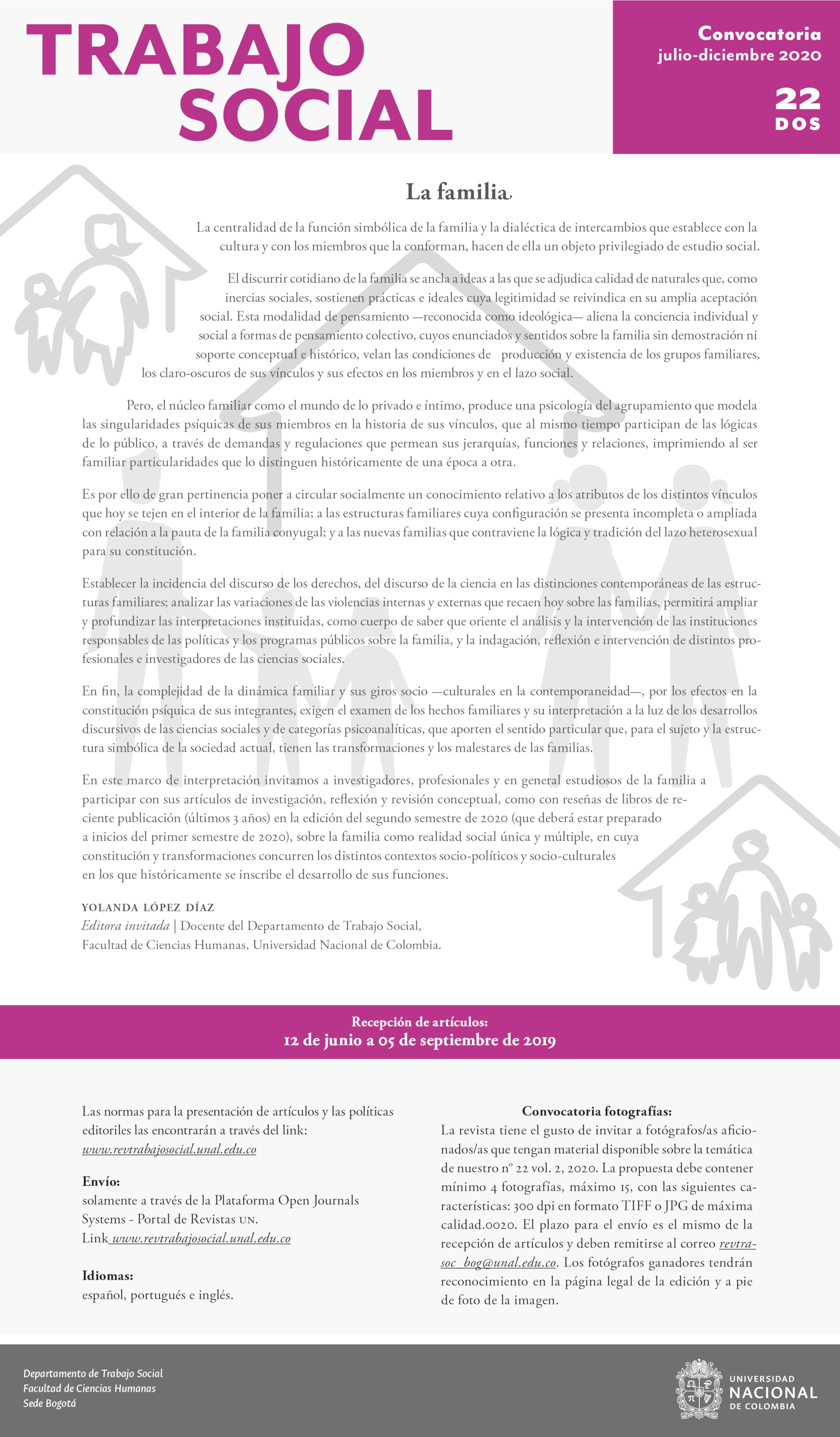Convocatoria artículos Vol. 22 no. 2 'Revista Trabajo Social': «La familia»