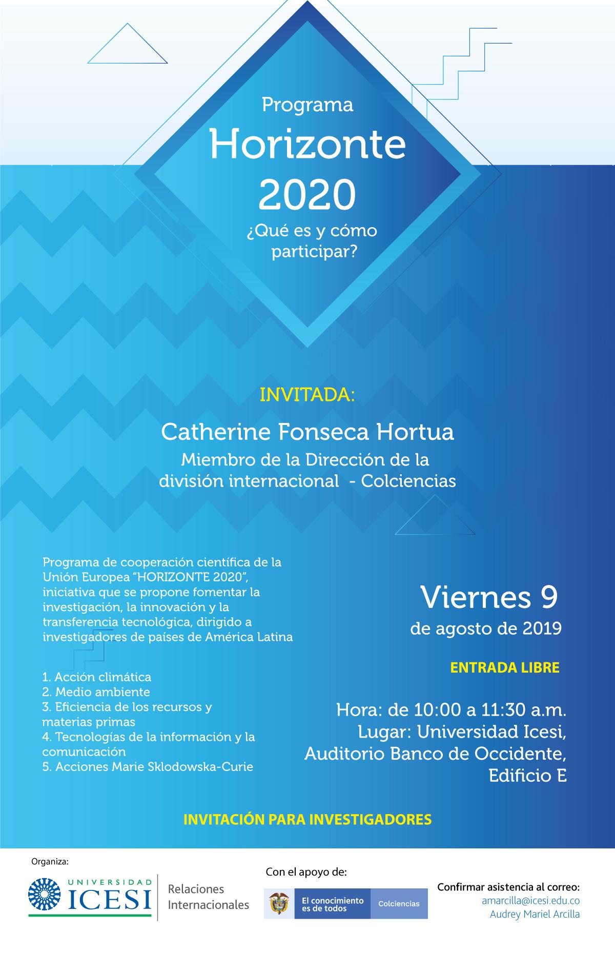 Charla «Convocatoria Horizonte 2020: ¿qué es y cómo participar?» (para universidades miembros de ASCUN)