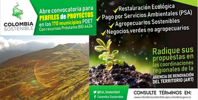 Convocatoria no. 1 Colombia Sostenible (para mejorar la conservación de la biodiversidad y sus servicios ecosistémicos y para prácticas e inversiones productivas sostenibles, bajas en carbono y con medidas de adaptación al cambio climático) (Fondo Colombia en Paz)
