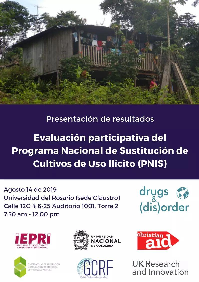 Presentación de resultados de la evaluación participativa del Programa Nacional de Sustitución de Cultivos de Uso Ilícito (PNIS)