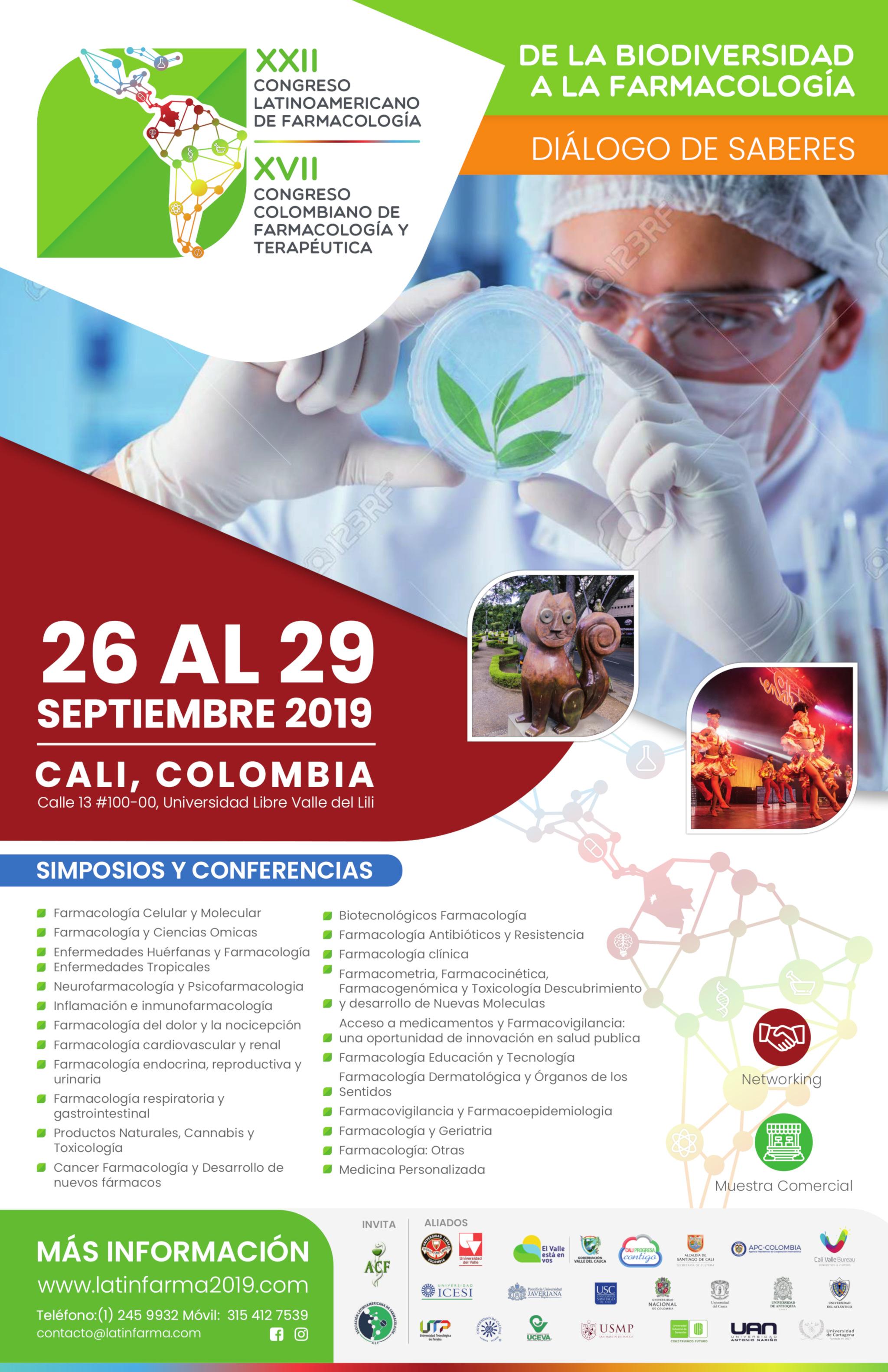 [Convocatoria de ponencias]  XVII Congreso Colombiano de Farmacología y Terapéutica y XXII Congreso Latinoamericano de Farmacología (Latinfarma 2019)