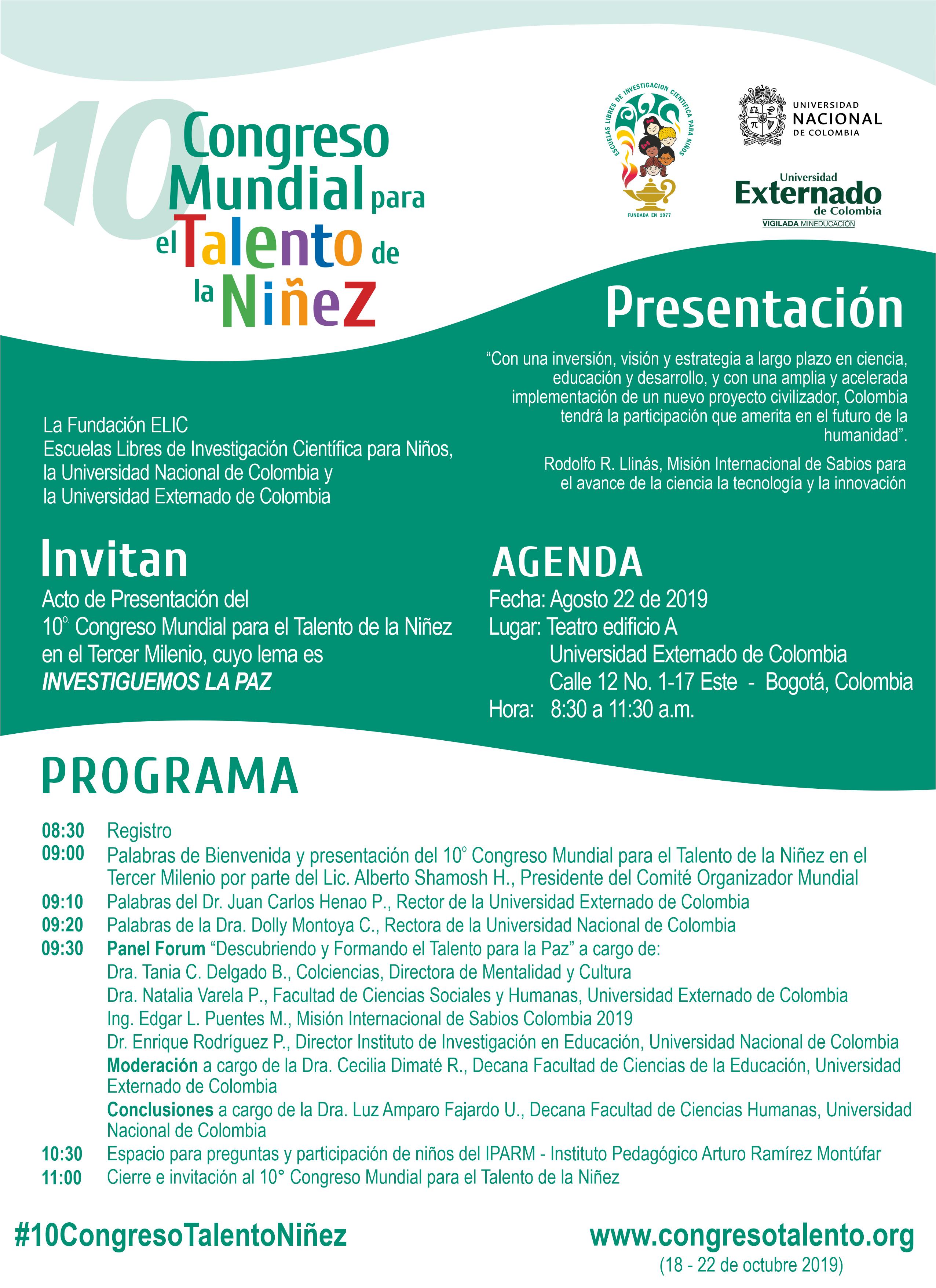Invitación a la presentación del 10.º Congreso Mundial para el Talento de la Niñez
