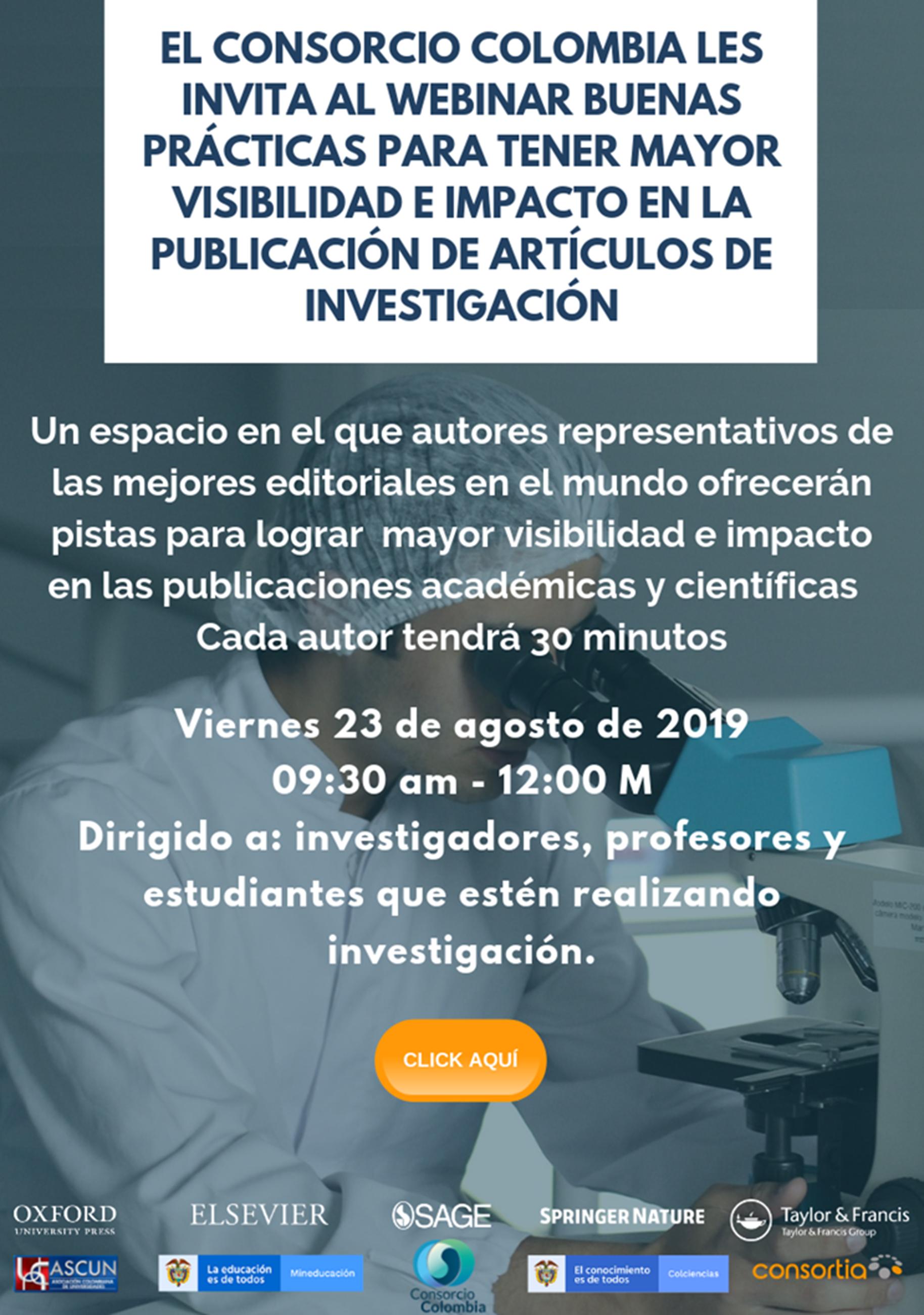Seminario web «Buenas prácticas para tener mayor visibilidad e impacto en la publicación de artículos de investigación»