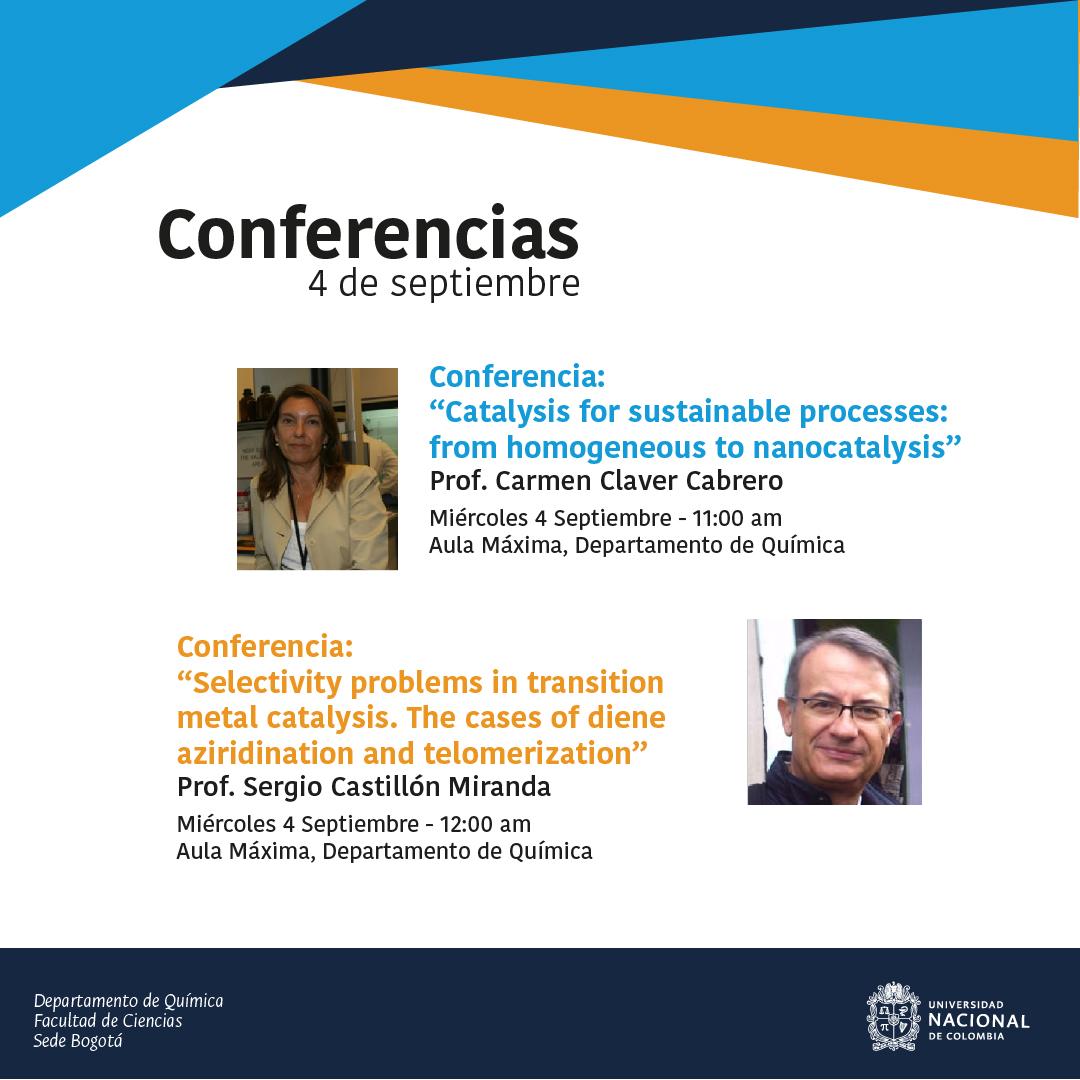 Conferencias Depto. de Química con Carmen Claver Cabrero y Sergio Castillón Miranda