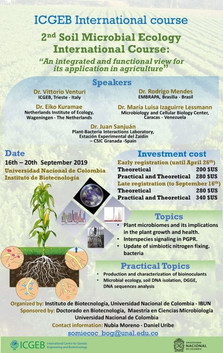 [ICGEB international course] 2nd. Soil Microbial Ecology International Course: «An integrated and functional view for its application in agriculture»