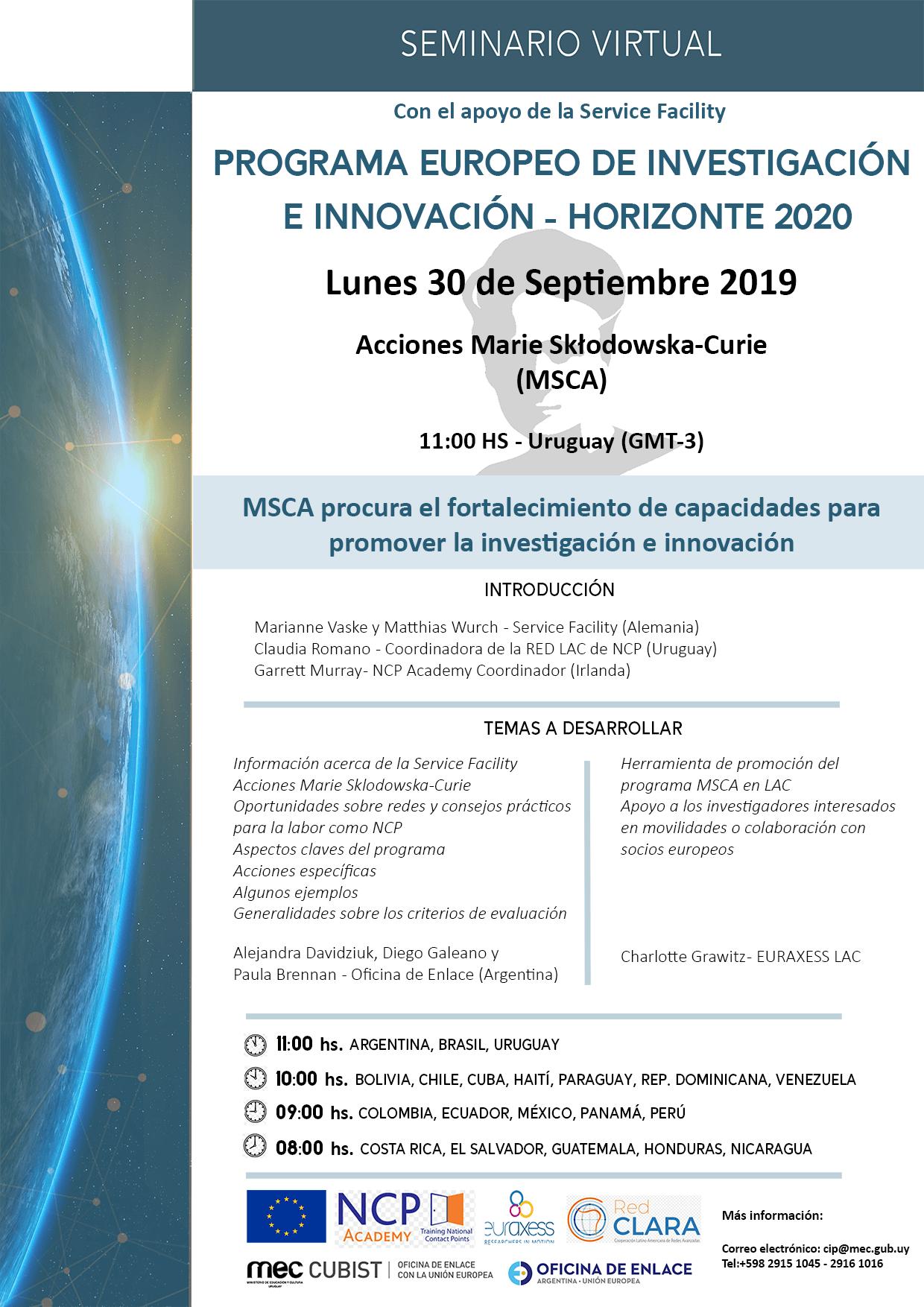 Seminario virtual sobre las acciones Marie-Sklodowska Curie (MSCA) del programa Horizonte 2020