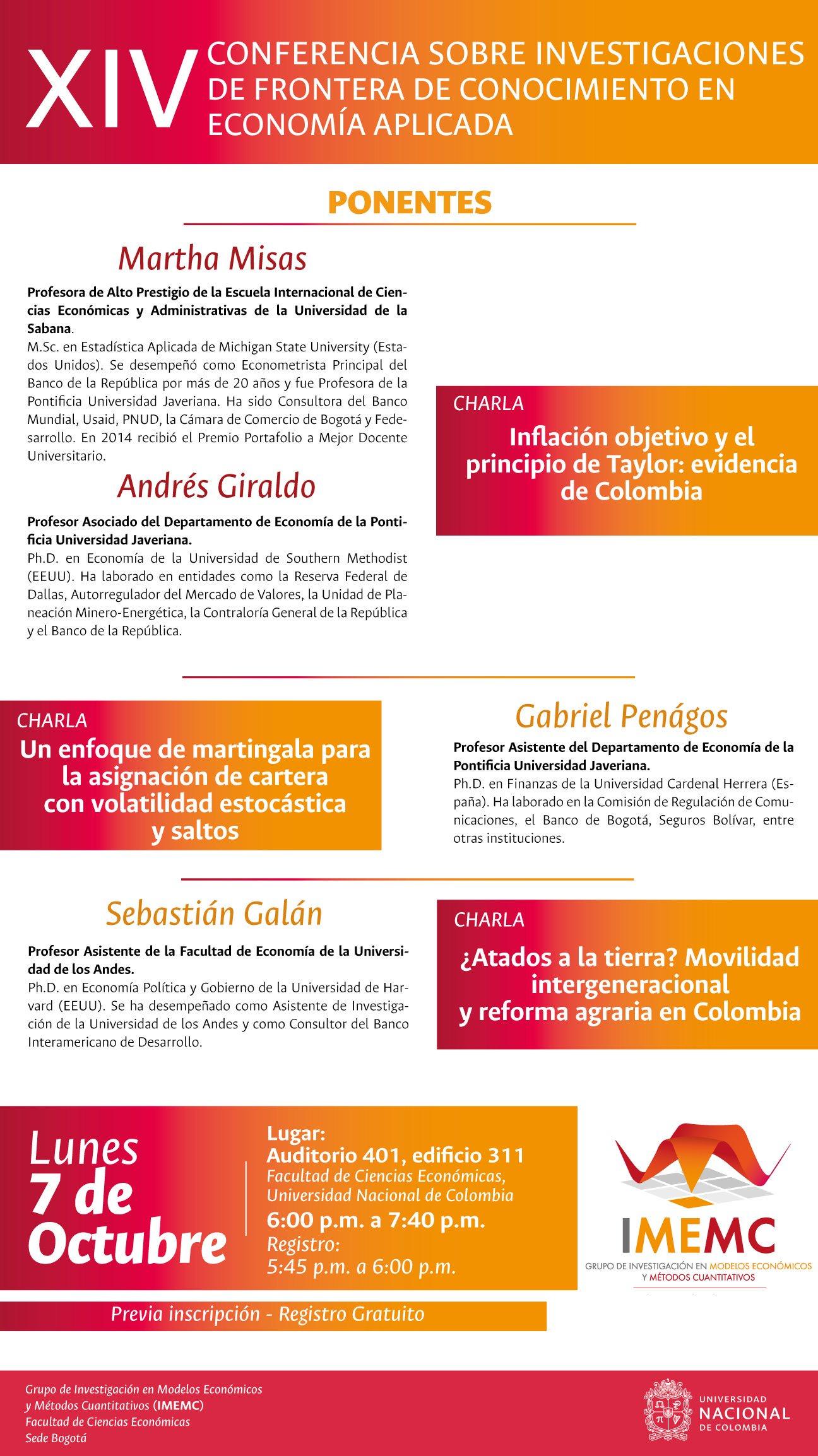 XIV conferencia sobre investigaciones de frontera de conocimiento en economía aplicada
