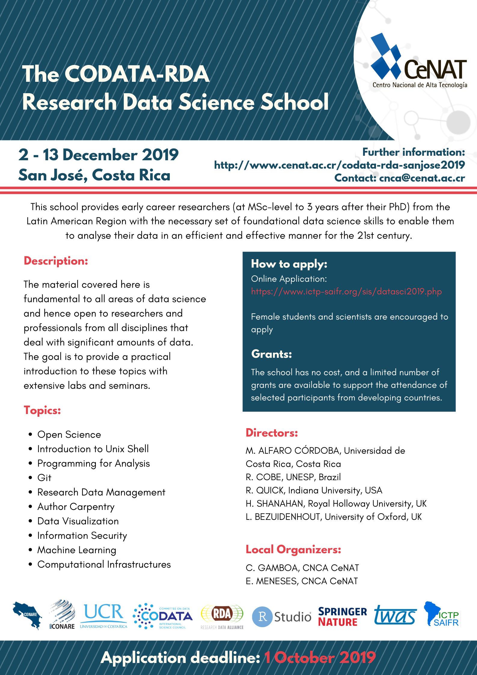 CODATA-RDA School of Research Data Science at San José de Costa Rica