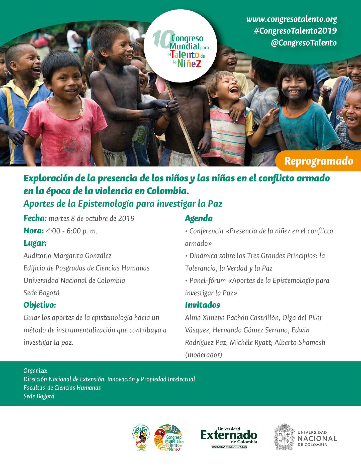 Evento «Exploración de la presencia de los niños y las niñas en el conflicto armado en la época de la violencia en Colombia. Aportes de la Epistemología para investigar la Paz»