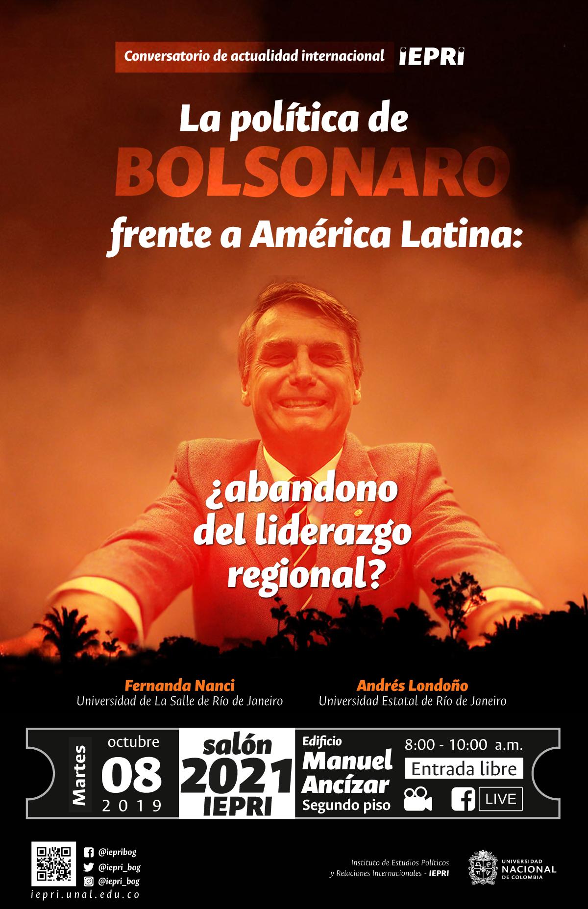 Conversatorio de actualidad internacional IEPRI: «La política de Bolsonaro frente a América Latina: ¿abandono del liderazgo regional?»