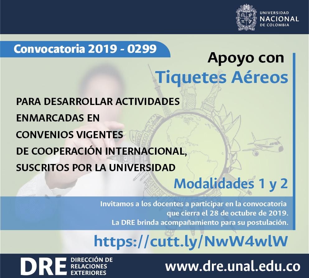 Apoyo con tiquetes aéreos para el desarrollo de actividades enmarcadas en convenios vigentes de cooperación internacional, suscritos por la Universidad Nacional de Colombia