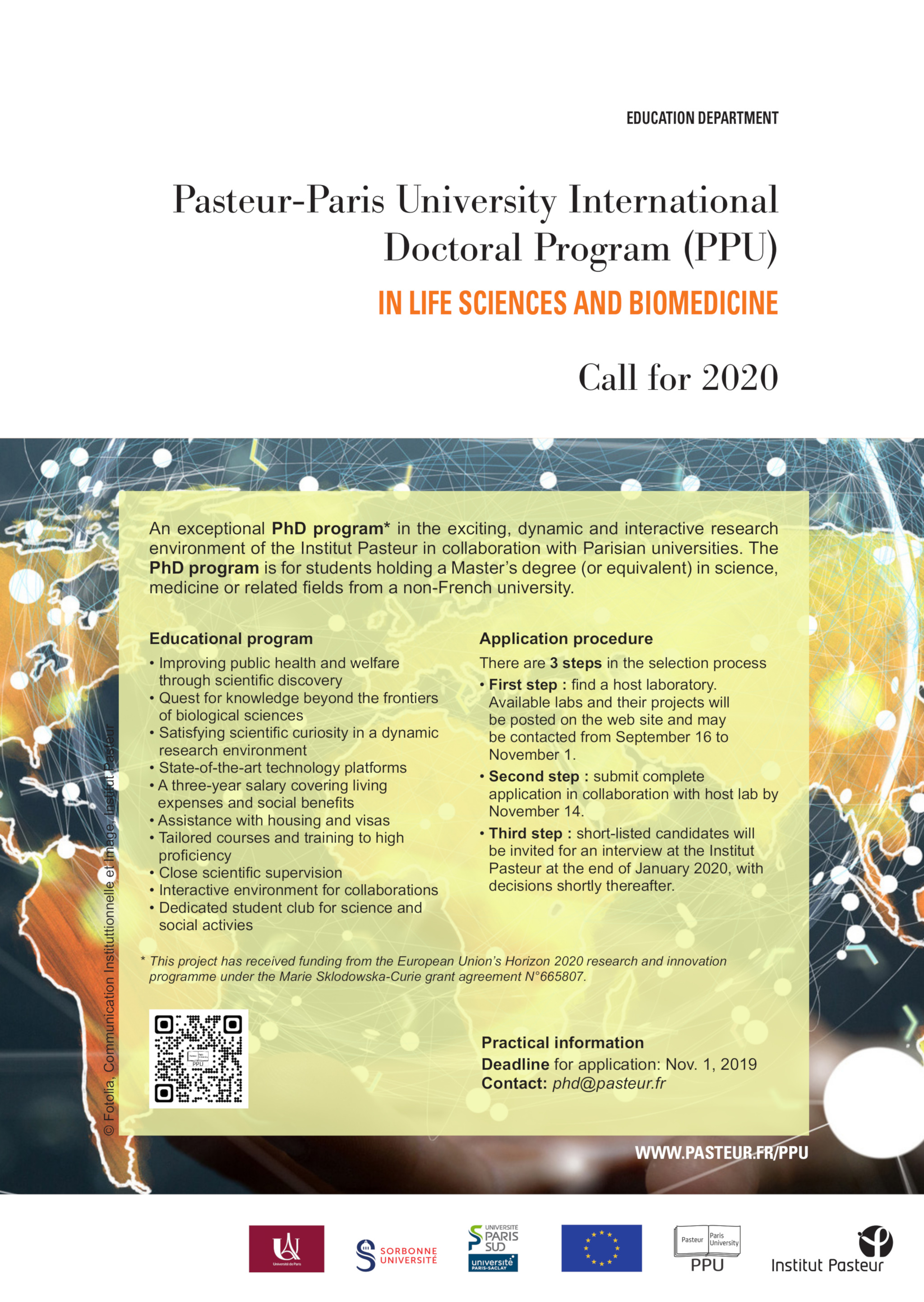 2020 Call: PhD scholarships for the Pasteur-Paris University International Doctoral Program (medical and biological sciences)
