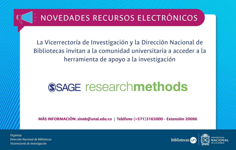 Novedades recursos electrónicos SINAB: acceso en demostración a SAGE Research Methods (hasta diciembre de 2019)