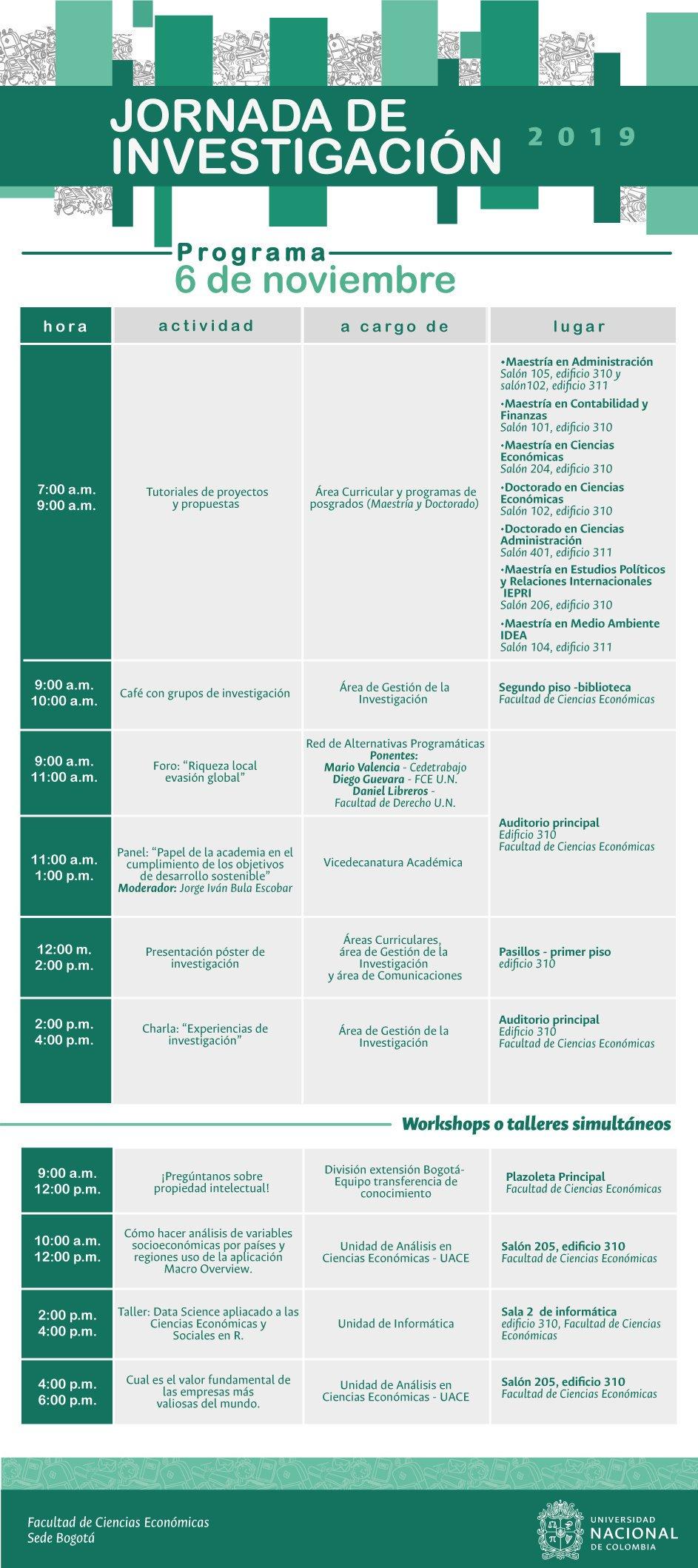 Jornada de Investigación de la Facultad de Ciencias Económicas UNAL sede Bogotá (2019-2)