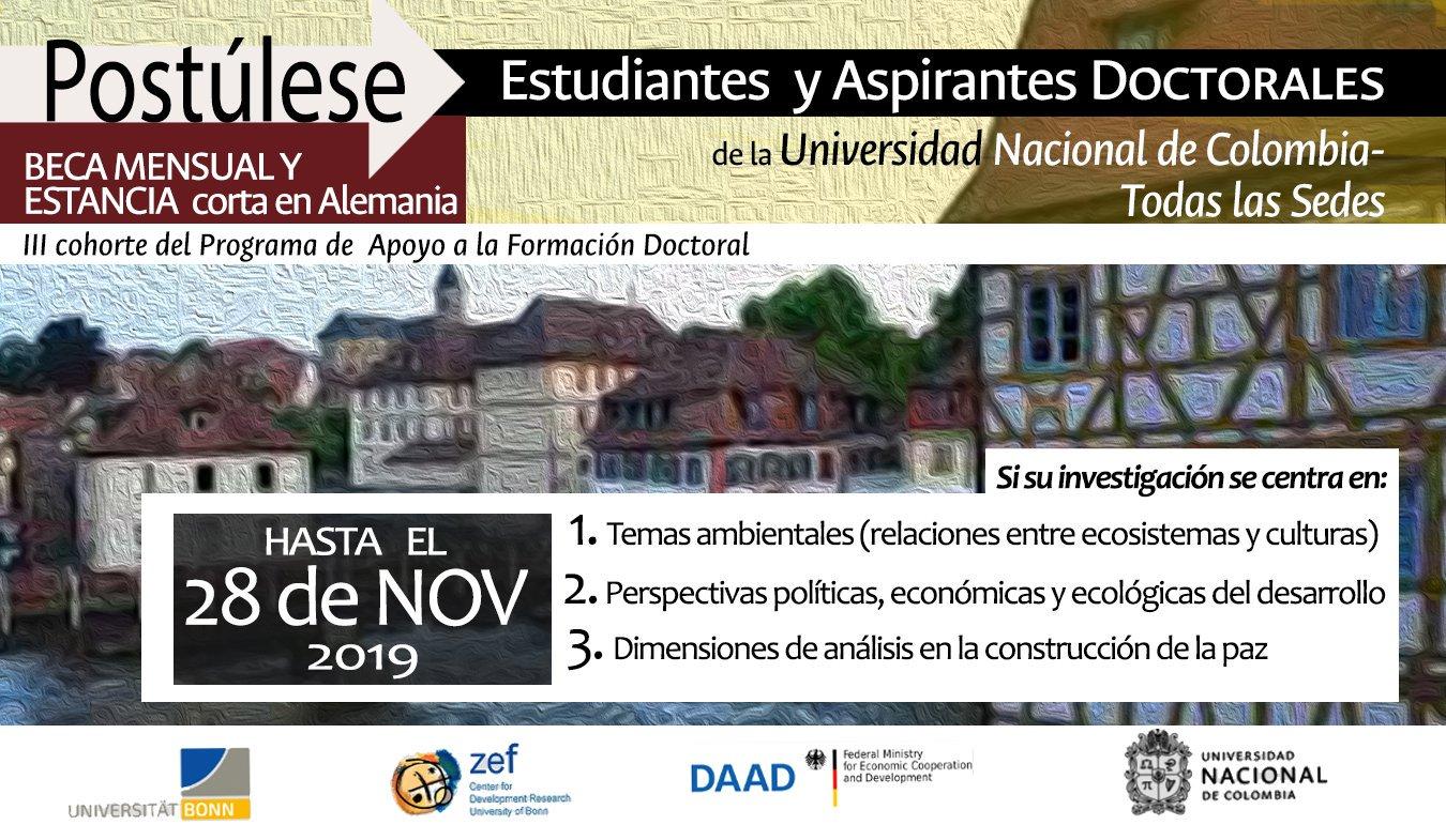 Becas de doctorado para el programa de apoyo a la formación doctoral (PAFD) en Ambiente, Construcción de Paz y Desarrollo en Colombia 2020 (IDEA-UNAL y ZEF-U. de Bonn)