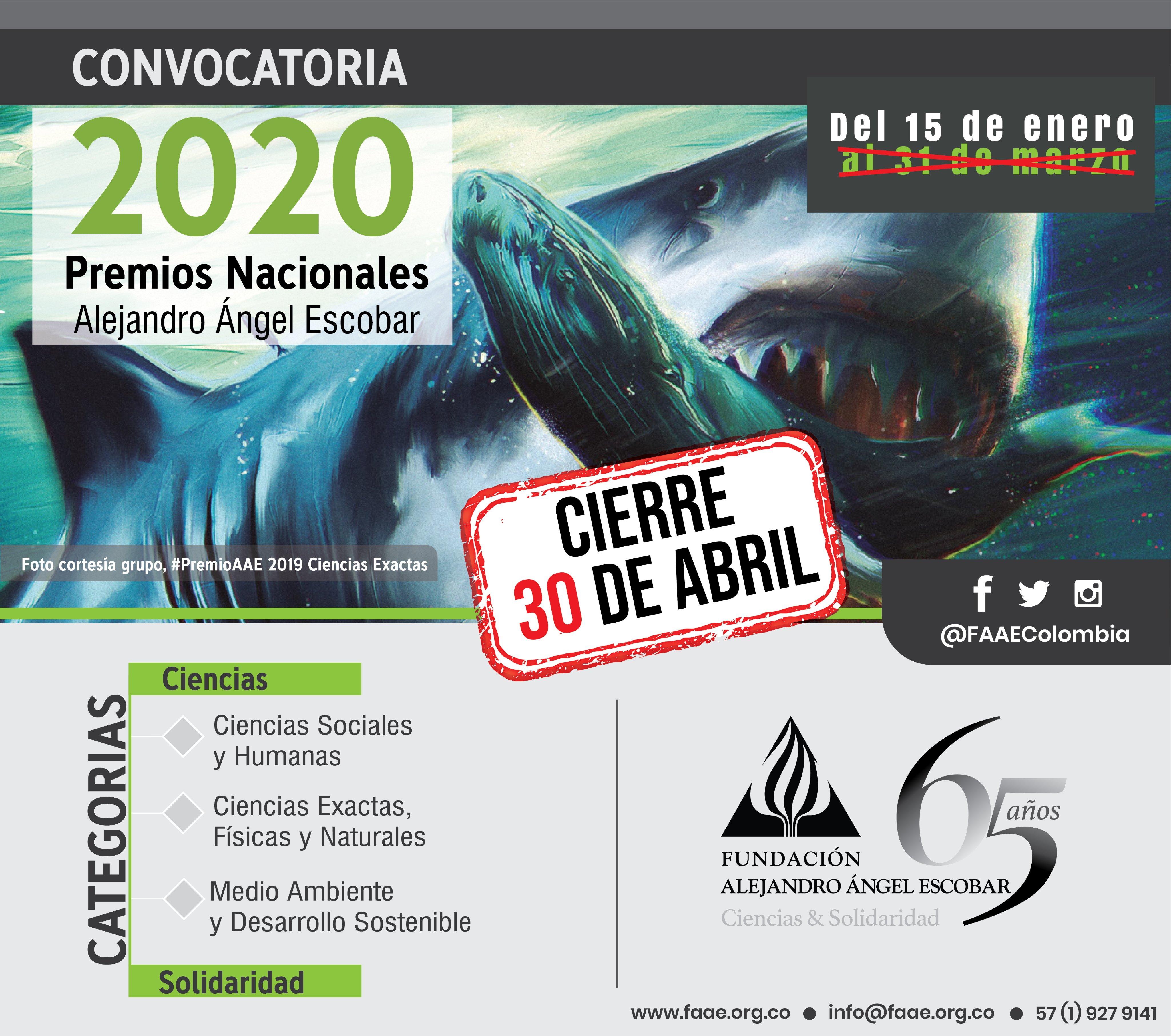 Convocatoria Premios Alejandro Ángel Escobar 2020 (Ciencias y Solidaridad)