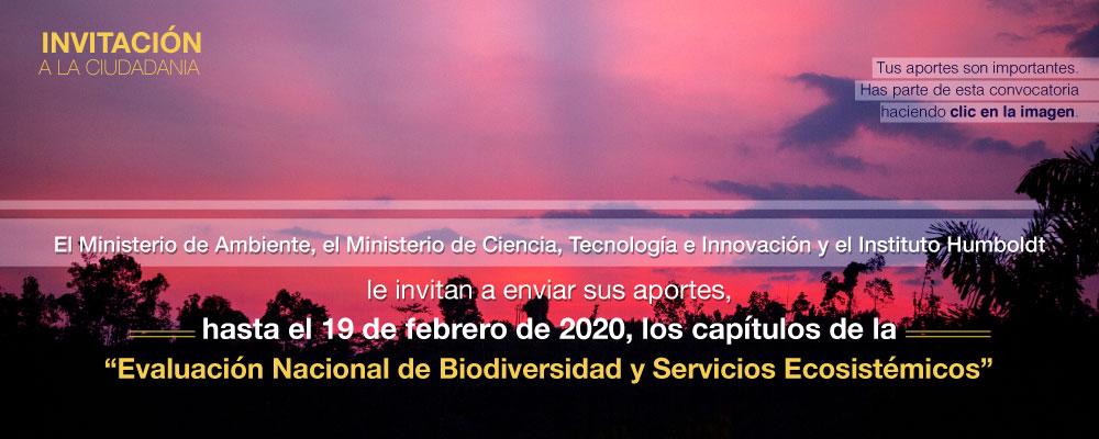 Convocatoria para la revisión del «Borrador final de la Evaluación Nacional de Biodiversidad y Servicios Ecosistémicos» (Instituto Humboldt)