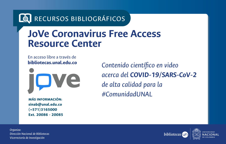 JoVe Coronavirus Free Access Resource Center, en acceso libre