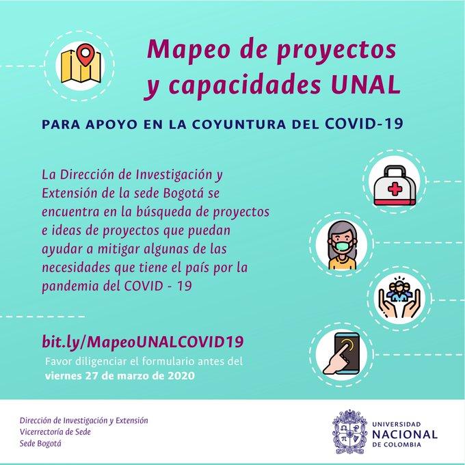 Mapeo de proyectos y capacidades UNAL para apoyo en la coyuntura del COVID-19