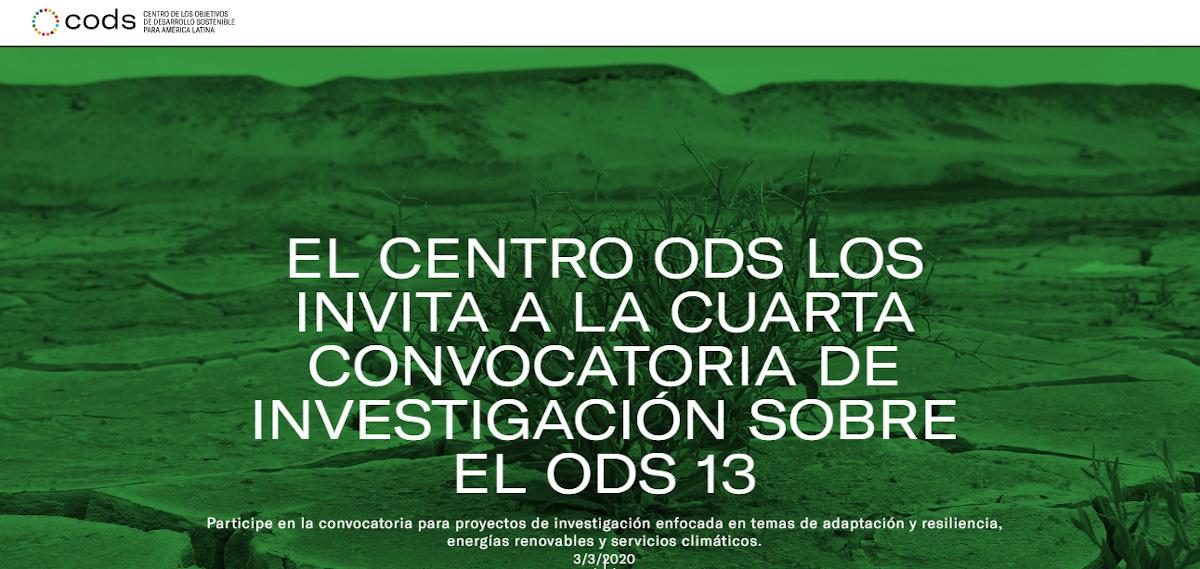 Cuarta convocatoria de investigación del CODS: adaptación y resiliencia, energías renovables y servicios climáticos